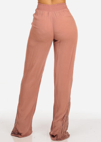 Mauve High Rise Wide Legged Linen Pants
