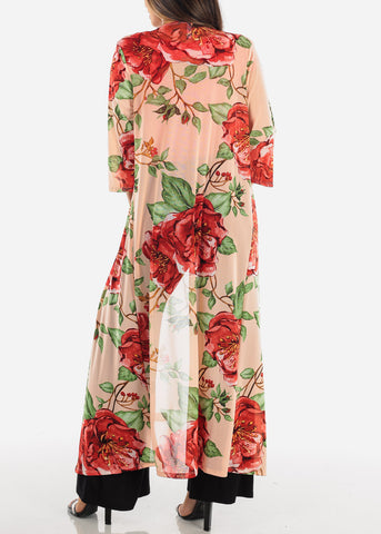 Image of Sexy Cute Open Front Pink Floral Flower Print Long Maxi Cardigan For Women Ladies Junior On Sale Vacation Trip