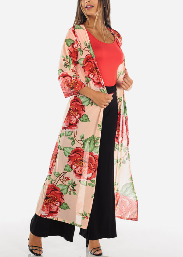 Sexy Cute Open Front Pink Floral Flower Print Long Maxi Cardigan For Women Ladies Junior On Sale Vacation Trip