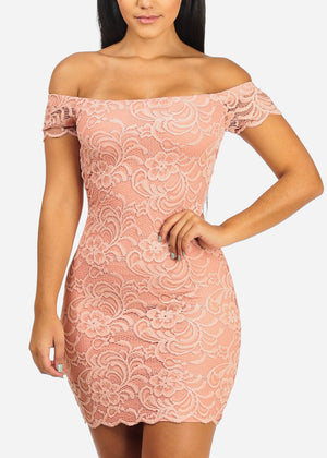 Sexy Off Shoulder Floral Lace Pink Dress