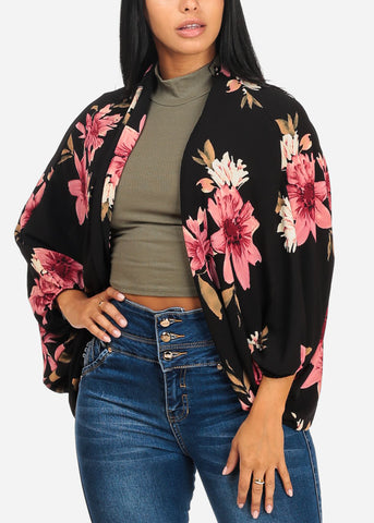 Image of Casual Floral Print Black Cardigan