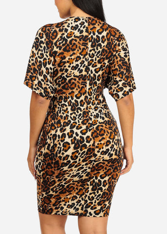 Image of Multicolor Midi Animal Print Dress