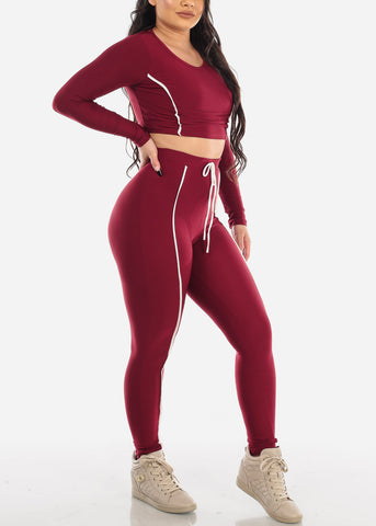 Image of Burgundy Sporty Crop Top & Pants (2 PCE SET)