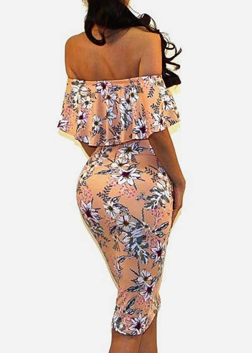 Off Shoulder Floral Peach Bodycon Dress