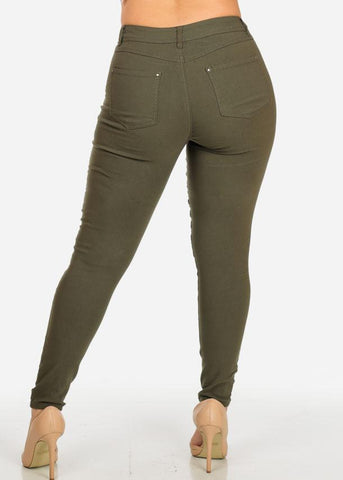 Image of Olive Stretchy Skinny Pants