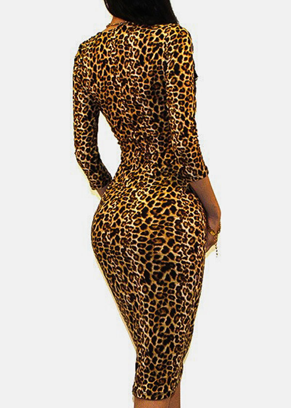 Animal Print Bodycon Midi Dress