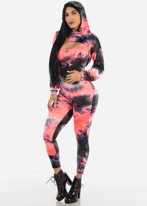 Tie-dye Jumpsuit & Long Sleeve Crop Top (2 PCE SET)