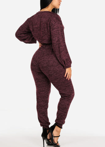 Image of Long Sleeve Heather Print Burgundy Crop Top W High Rise Pants (2 PCE SET)
