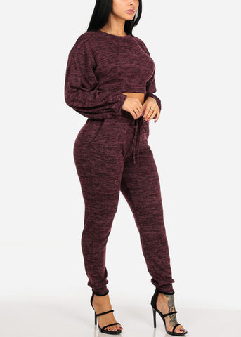 Long Sleeve Heather Print Burgundy Crop Top W High Rise Pants (2 PCE SET)