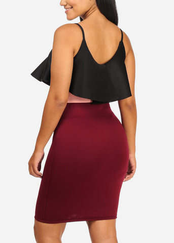 Image of Sexy Sleeveless Burgundy Bodycon Dress