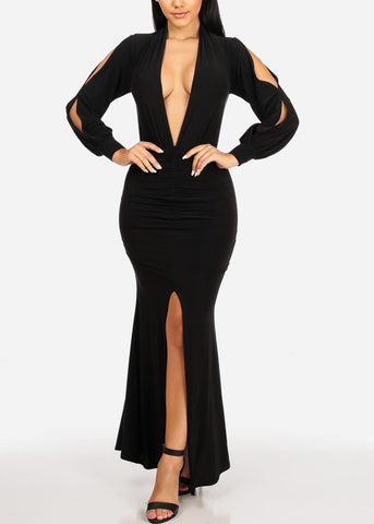 Image of Black Ruched Maxi Dress