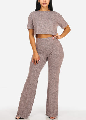 Mauve Crop Top W High Waisted Pants (2 PCE SET)