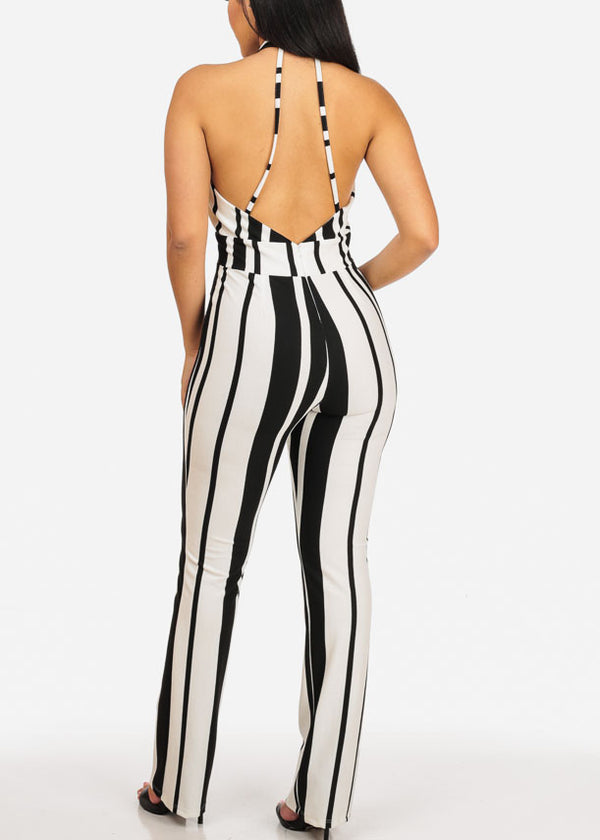Sexy Black And White Stripe Jumpsuit