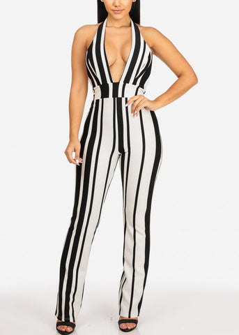 Image of Sexy Black And White Stripe Jumpsuit