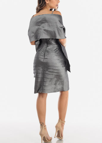 Image of Silver Spaghetti Strap Dress w Shawl