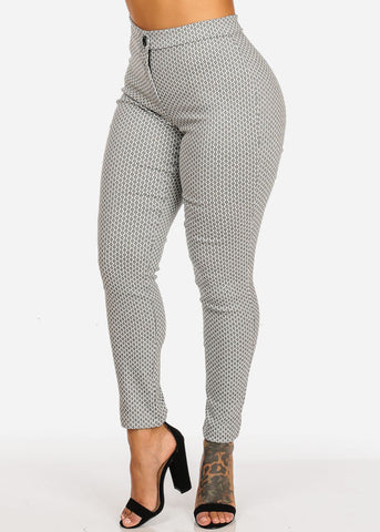 High Waisted White Print Skinny Leg Pants
