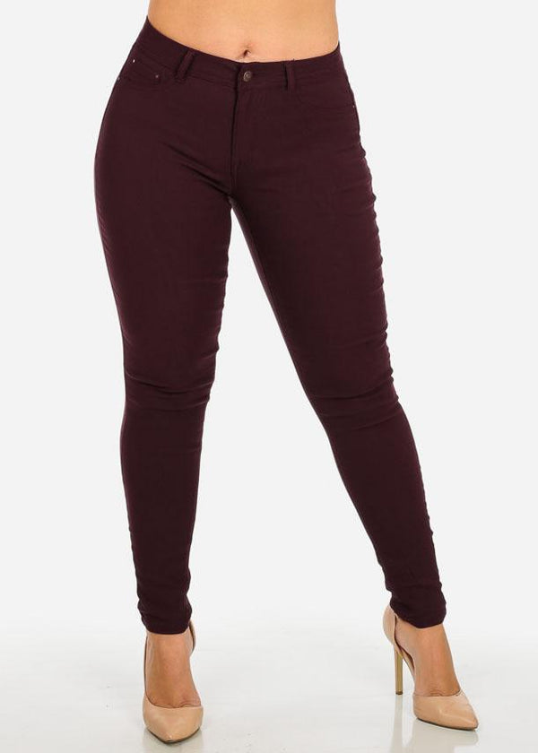 Burgundy Stretchy Skinny Pants