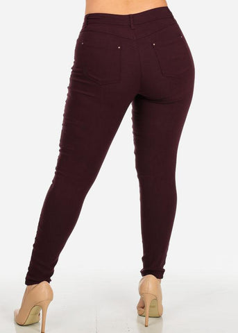 Image of Burgundy Stretchy Skinny Pants