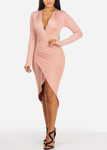 Long Sleeve Ruched Slit Mauve Dress