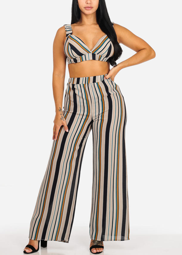 Stripe Crop Top W Stripe Wide Legged Pant (2 PCE SET)