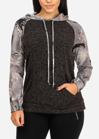 Image of Fuzzy Floral Grey Sweater Hoodie