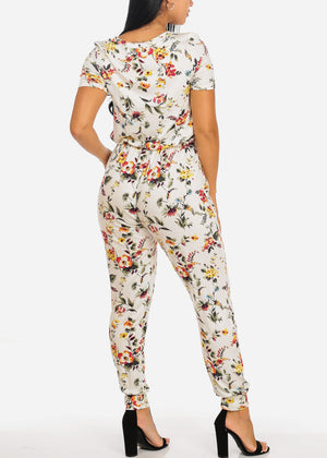 Casual White Floral Print Jumpsuit