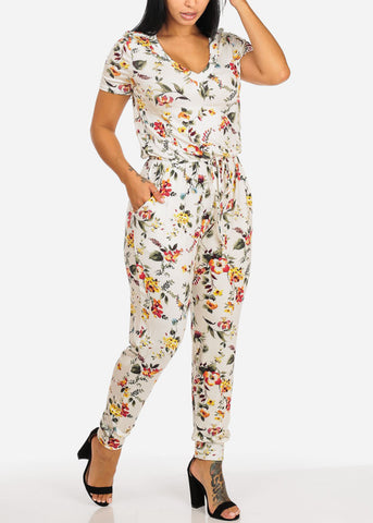Image of Casual White Floral Print Jumpsuit