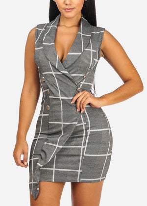 Grey Sexy Plaid Mini Dress