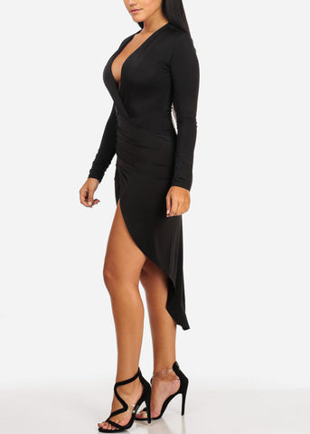 Evening Wear Ruched Slit Black Dress