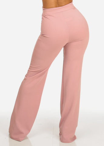 Evening Wear High Waisted Rose Pants