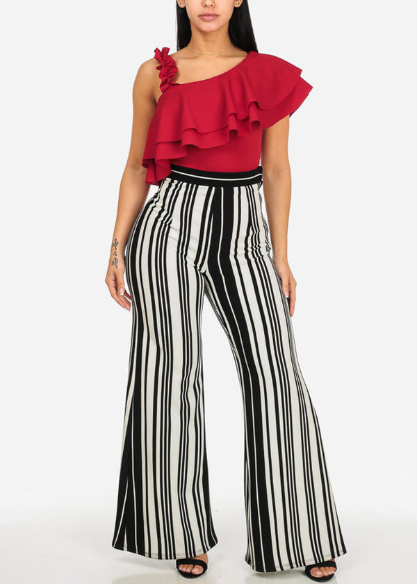 High Rise Stripe Print Wide Leg Pants