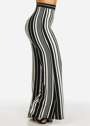 Image of High Rise Stripe Print Wide Leg Pants