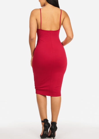 Red Spaghetti Strap Bodycon Dress