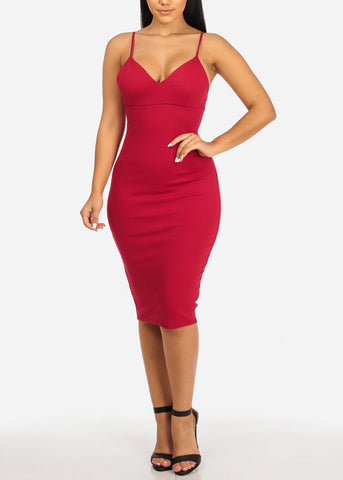Image of Red Spaghetti Strap Bodycon Dress