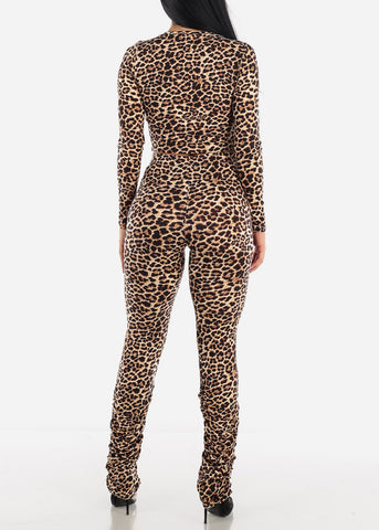 Brown Leopard Top & Pants ( 2 PCE SET )