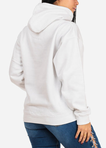 Hustle Graphic Print Long Sleeve Pullover Style White Sweater