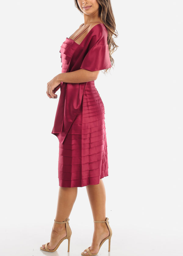 Burgundy Spaghetti Strap Dress w Shawl