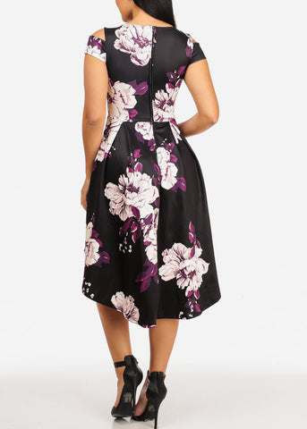 Elegant Floral Black Dress