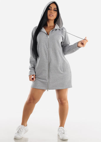 Image of Grey Graphic Hoodie Dress