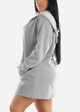Grey Graphic Hoodie Dress