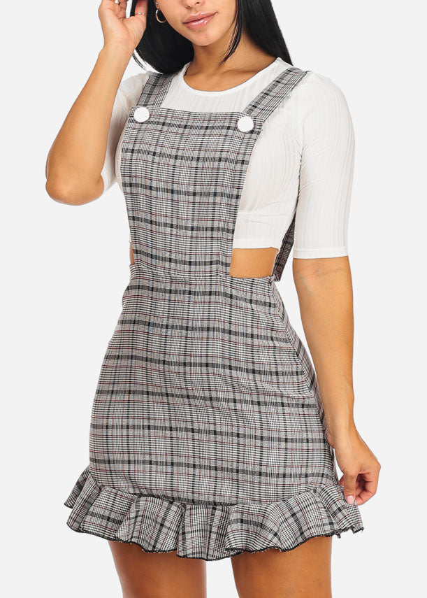 Overall Plaid Dress W White Crop Top (2 PCE SET)