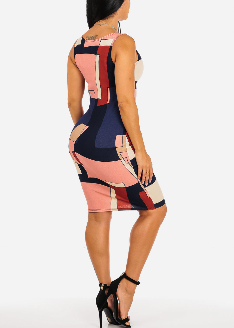 Multicolor Navy Geometric Print Dress