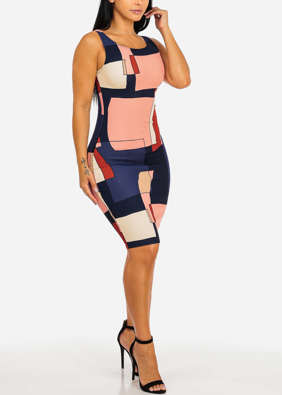 Sleeveless Navy Dust Multicolor Shape Design Print Slim Fit Knee Length Bodycon Dress