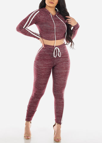 Image of Burgundy Heather Crop Top & Pants (2 PCE SET)