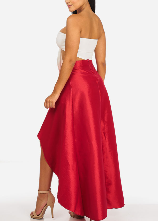 Strapless Crop Top W Red High Waisted Skirt (2 PCE SET)