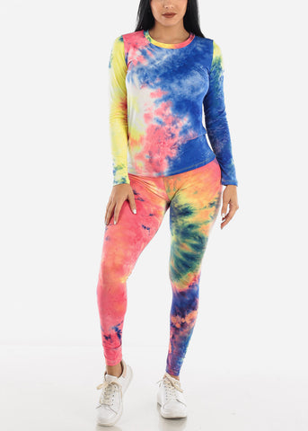 Colorful Tie Dye Top & Leggings Set