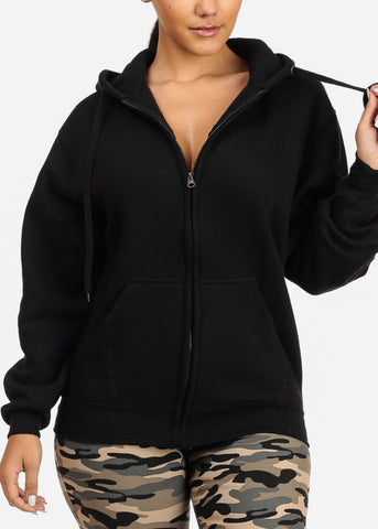 Floral Skull Chic Graphic Black Sweater W Hoodie