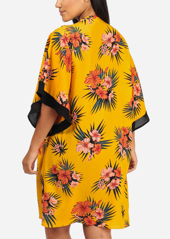 Image of Mustard Floral Print Cardigan
