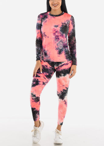 Pink Tie Dye Top & Leggings Set