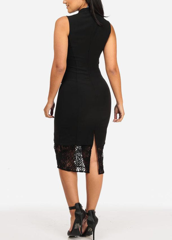 Sleeveless High Neck Lace Detail Solid Black Midi Dress